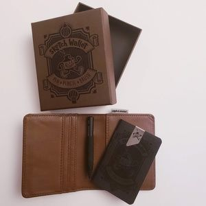 Small Brown Leather Sketch Wallet with Pencil